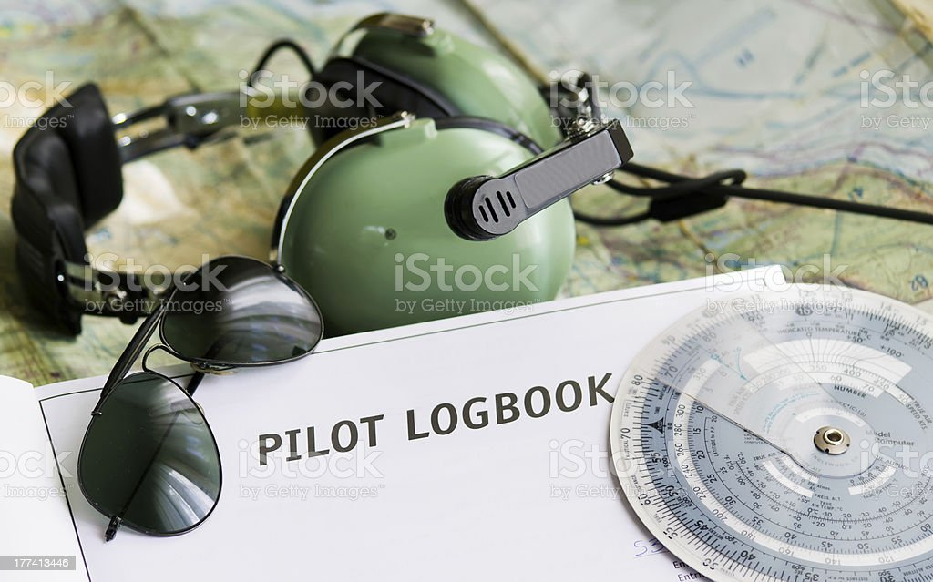 sunglasses and aviation tools stock photo