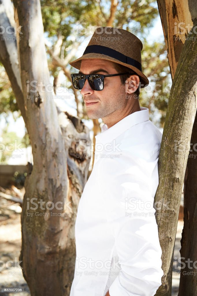Sunglasses and hat guy stock photo