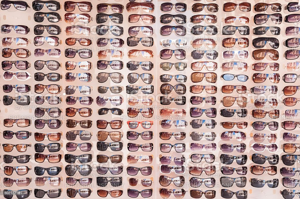 Sunglasses displayed on street market in Zadar, Croatia stock photo