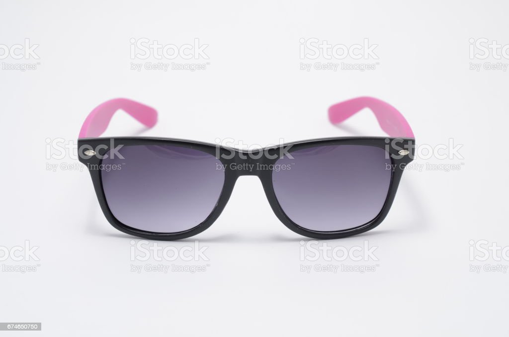 sunglasses in thick black plastic frame isolated on white stock photo
