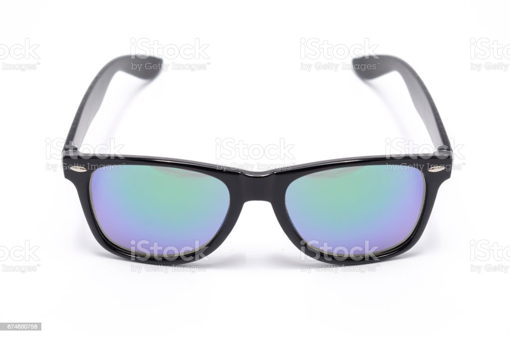 sunglasses in thick black plastic frame with gradient glass isolated on white stock photo