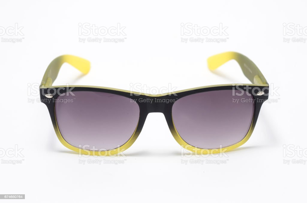 sunglasses in thick gradient plastic frame isolated on white stock photo