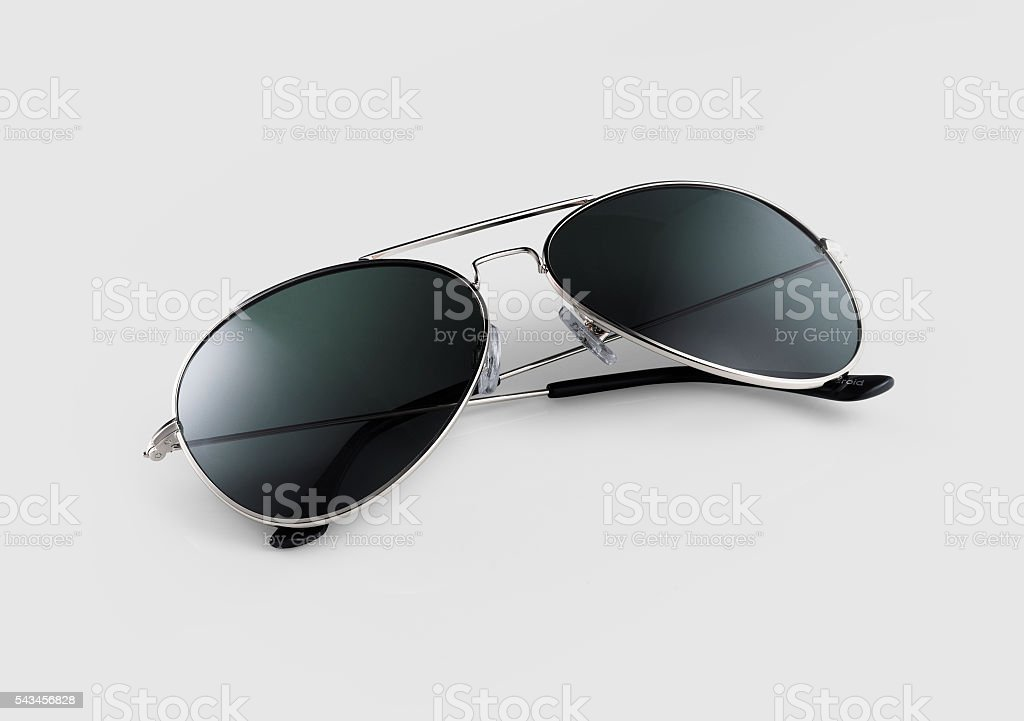 Sunglasses on grey background stock photo