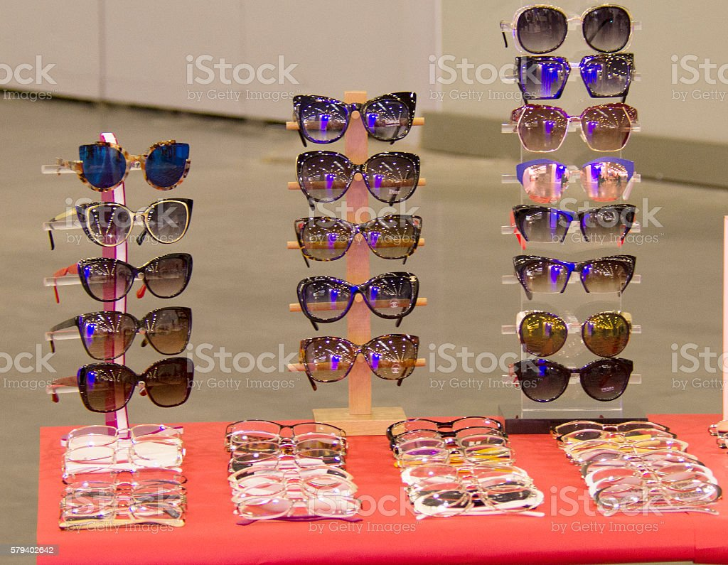 sunglasses on the table stock photo