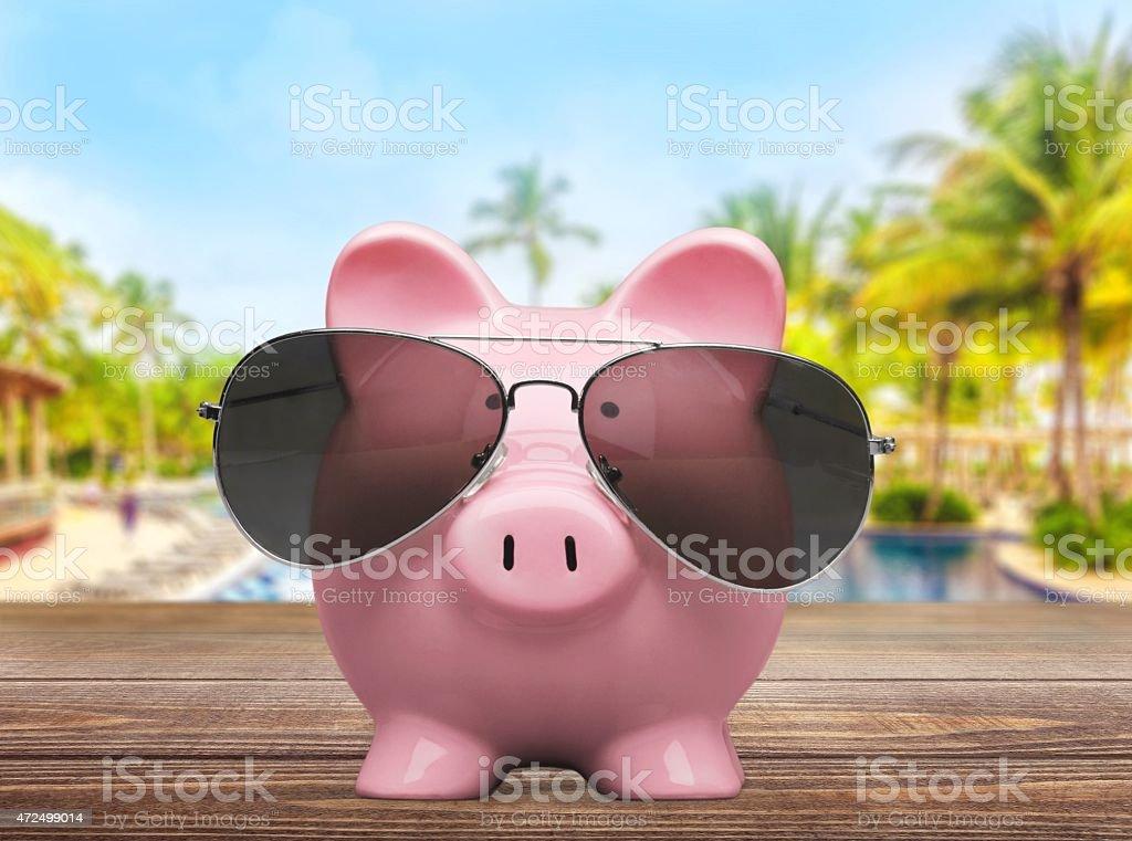 Sunglasses. Piggy Bank stock photo