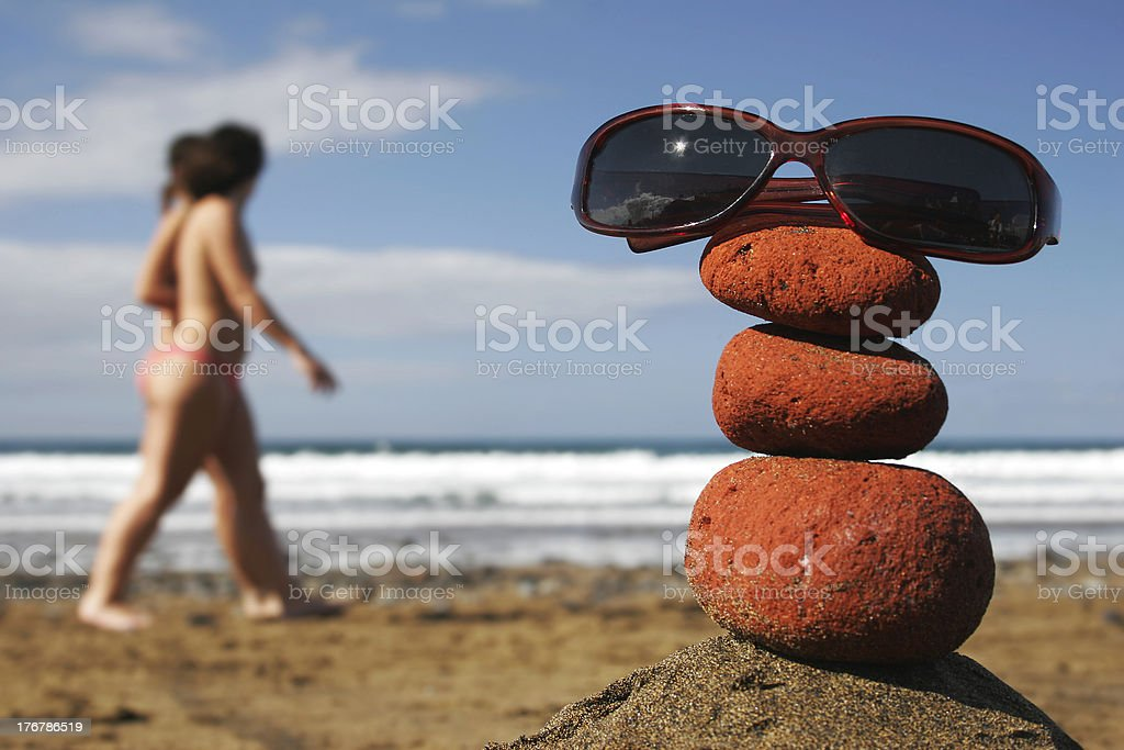 Sunglasses Stack and Women royalty-free stock photo