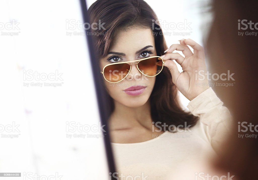 Sunglasses testing. royalty-free stock photo