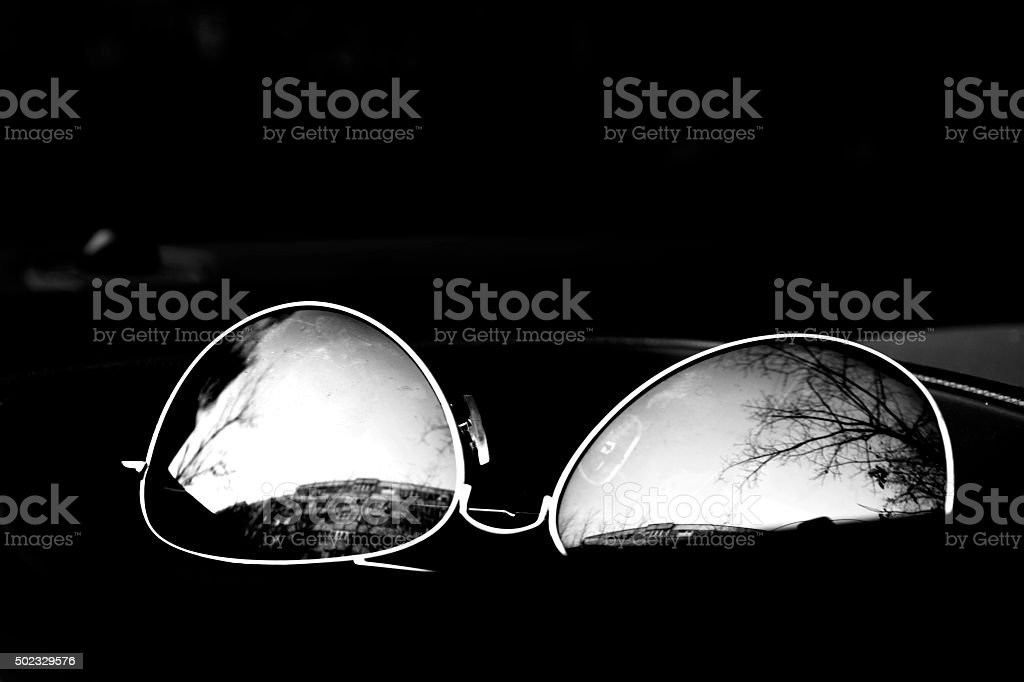 Sunglasses with reflection stock photo