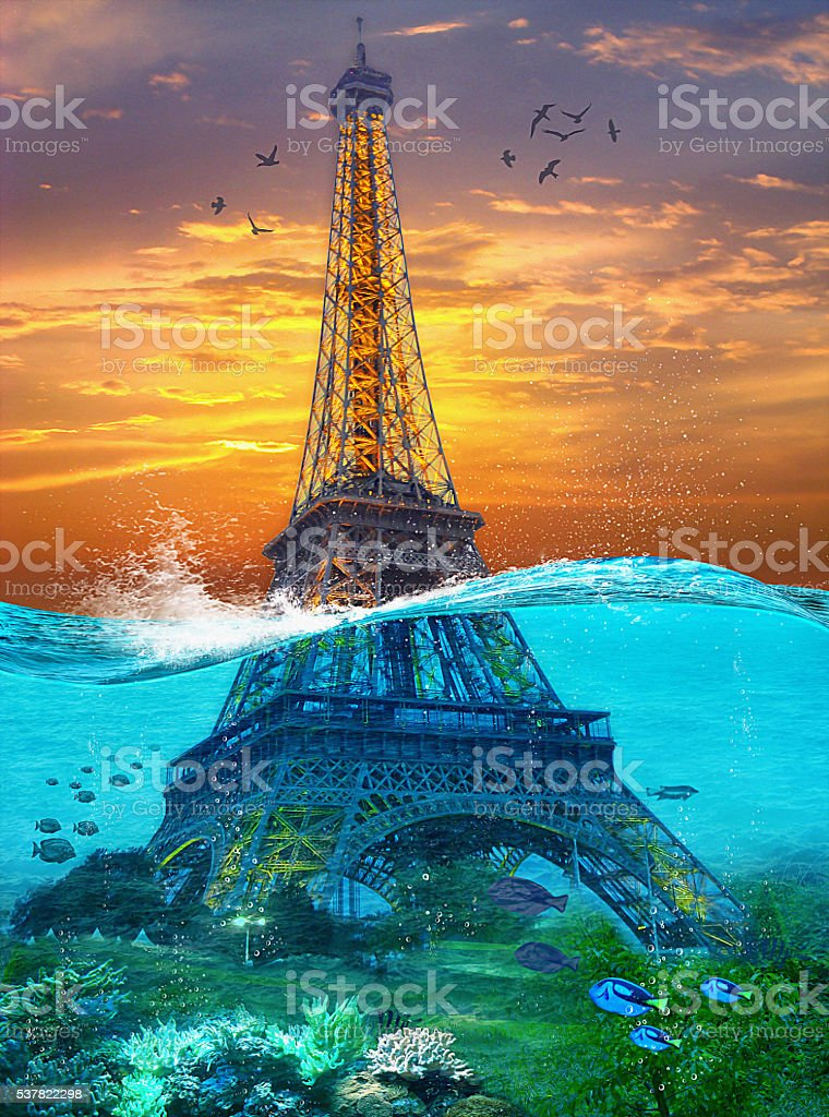 Sunk Eiffel Tower. Surreal illustration in soft oil painting style stock photo