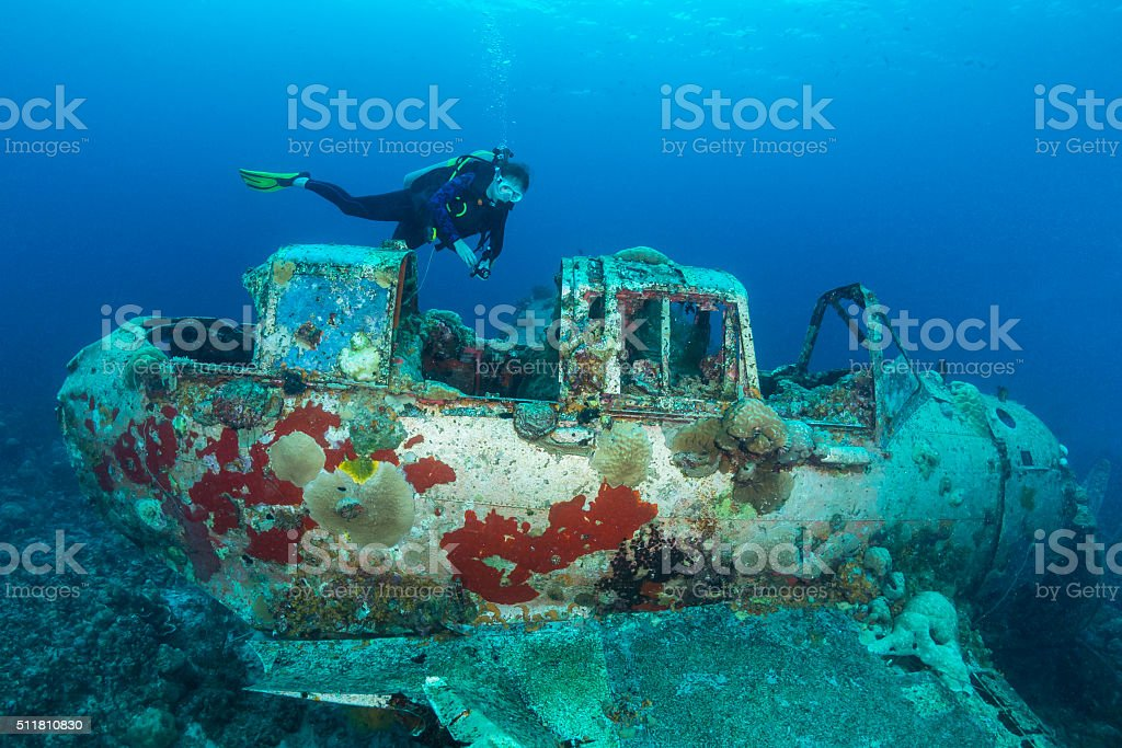 II WW Sunken Airplane Wreck -Palau stock photo