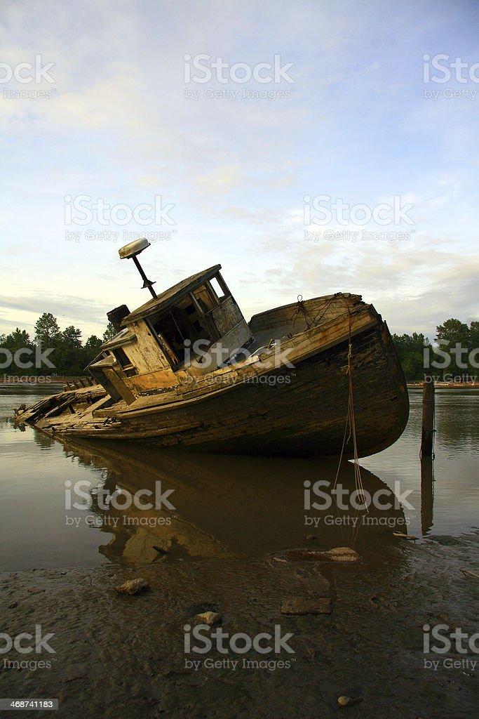 Sunken at Sunset royalty-free stock photo