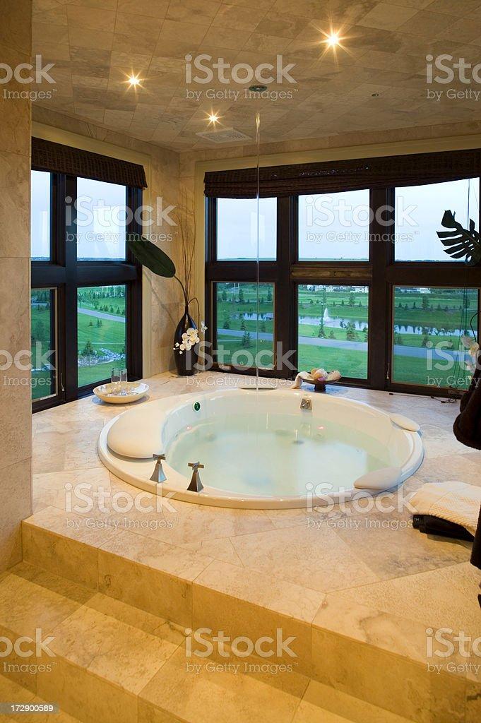 sunken bath modern house stock photo