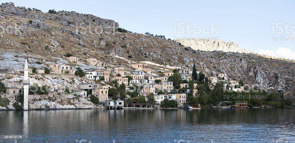 Sunken City Savasan in Halfeti royalty-free stock photo