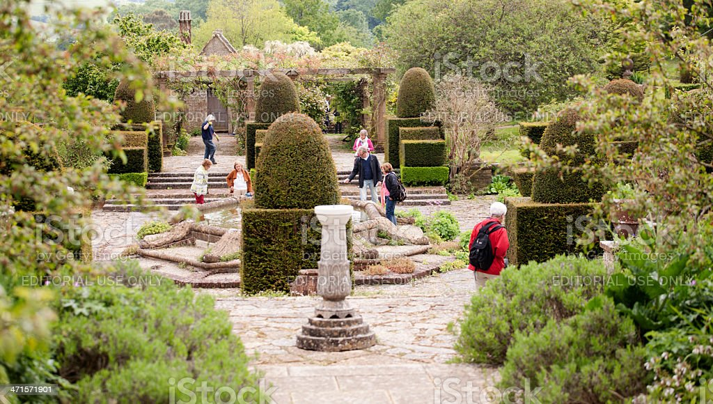 Sunken garden with topiary stock photo
