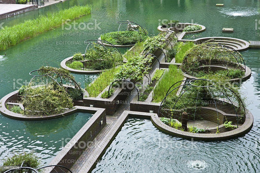 Sunken Gardens in the Barbican residential complex stock photo