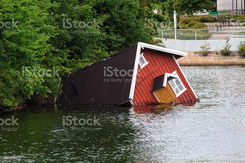 Sunken house stock photo
