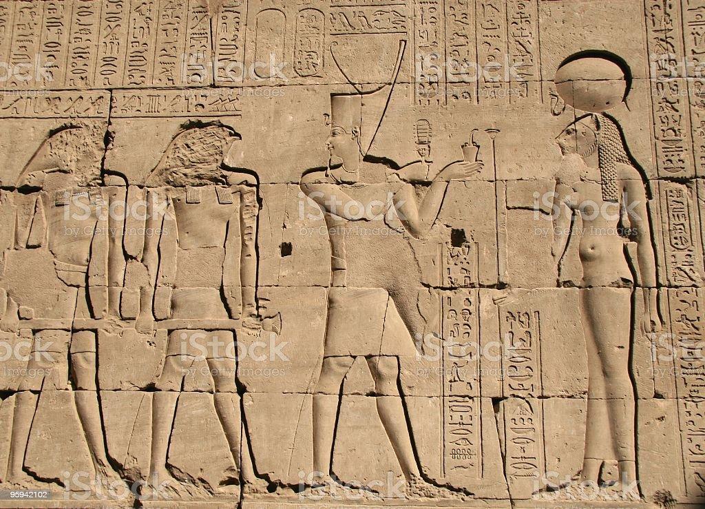 Sunken relief in the Temple of Horus, Edfu, Egypt stock photo