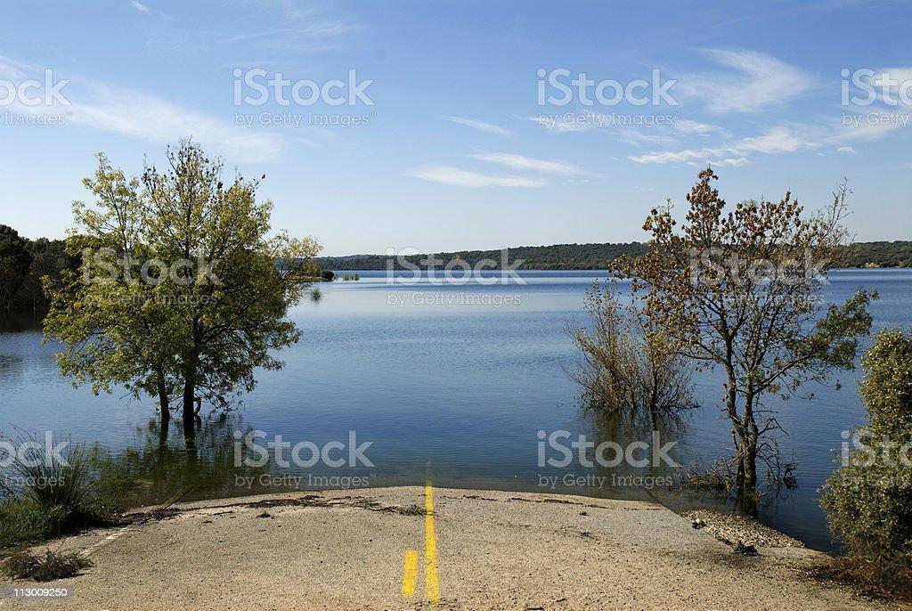 sunken road by water reservoir in Madrid, Spain royalty-free stock photo