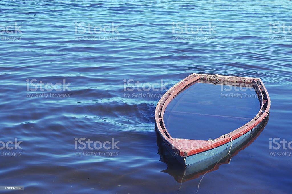 Sunken Rowboat stock photo