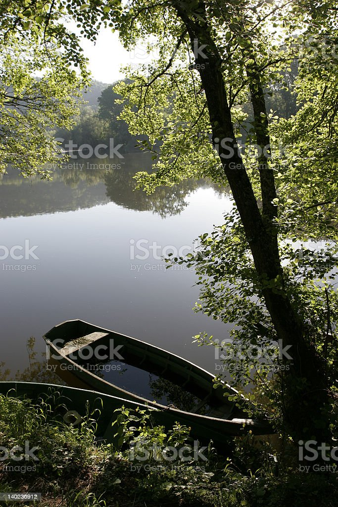 Sunken rowing boat stock photo