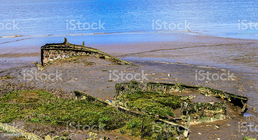 Sunken Rusted Ship River Humber stock photo