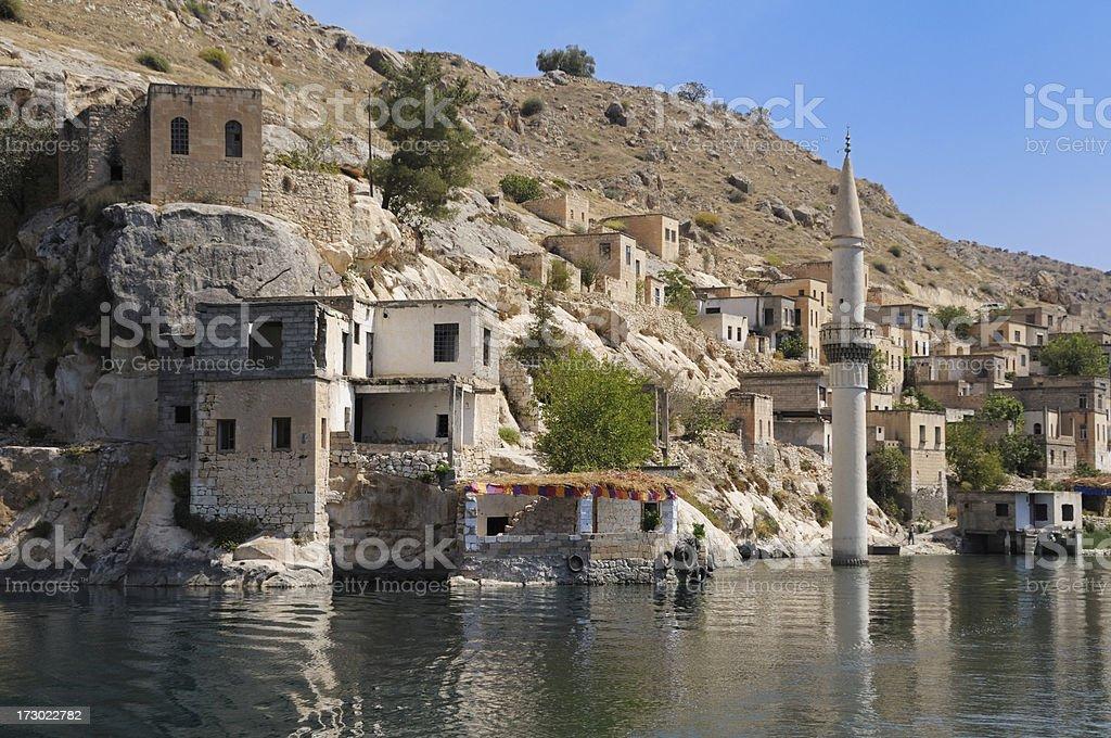 Sunken Village Savasan in Halfeti, Gaziantep, Turkey royalty-free stock photo
