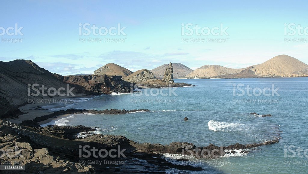 sunken volcanic crater, Galapagos Islands stock photo