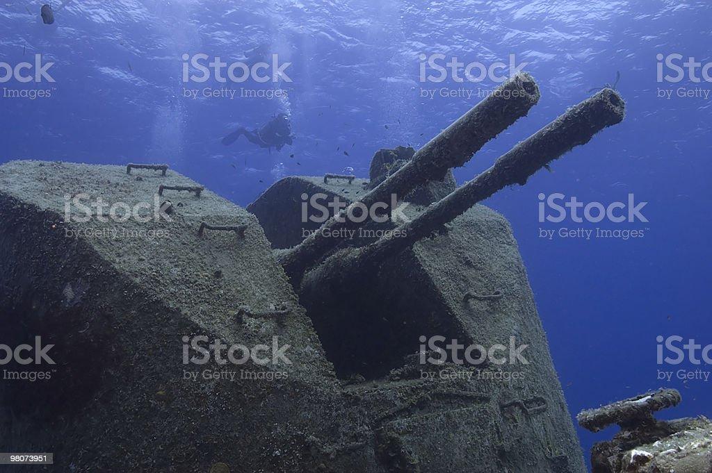 Sunken warship stock photo