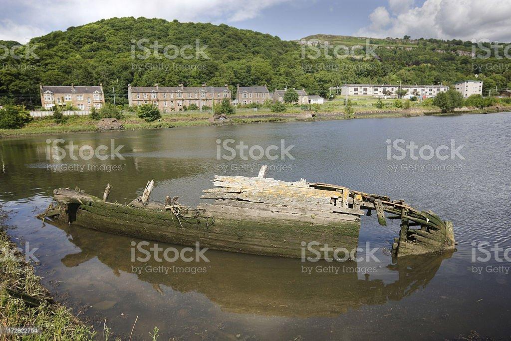Sunken Wooden Boat royalty-free stock photo