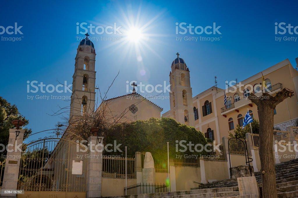 Sunlight above church stock photo