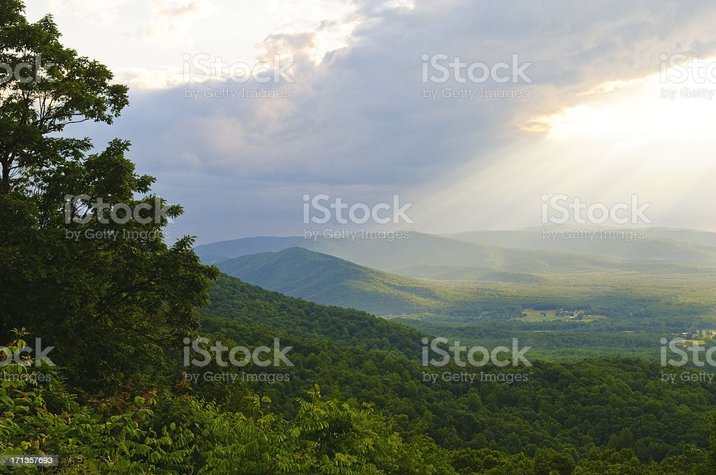Sunlight after a rain in the Shenandoah Valley of Virginia royalty-free stock photo
