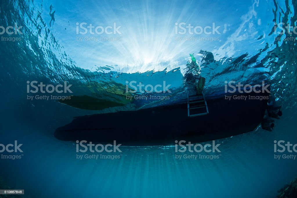 Sunlight and Boat stock photo