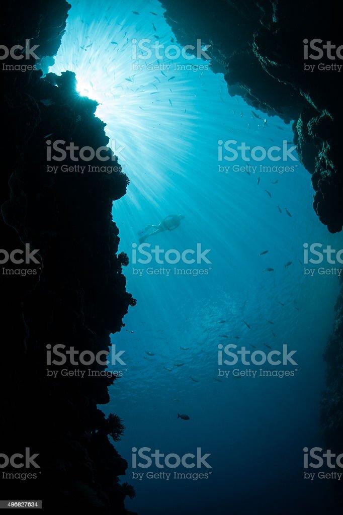 Sunlight and Underwater Grotto stock photo