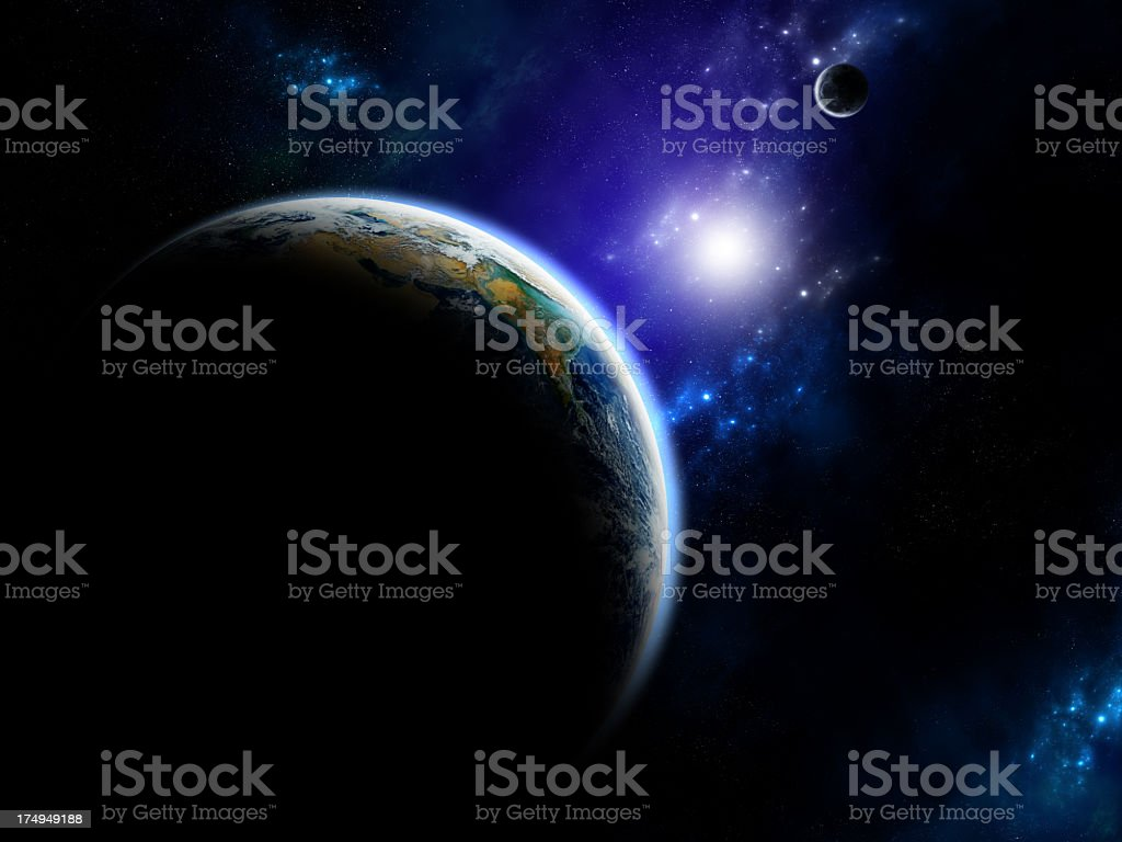 Sunlight between earth and moon stock photo