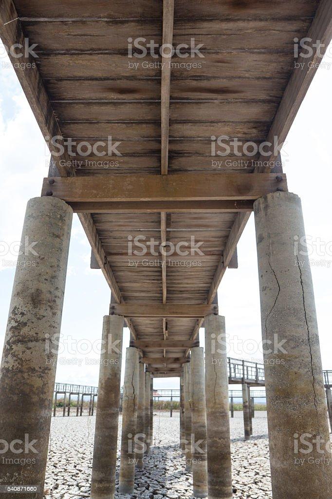 sunlight bokeh pass to under wooden bridge Стоковые фото Стоковая фотография