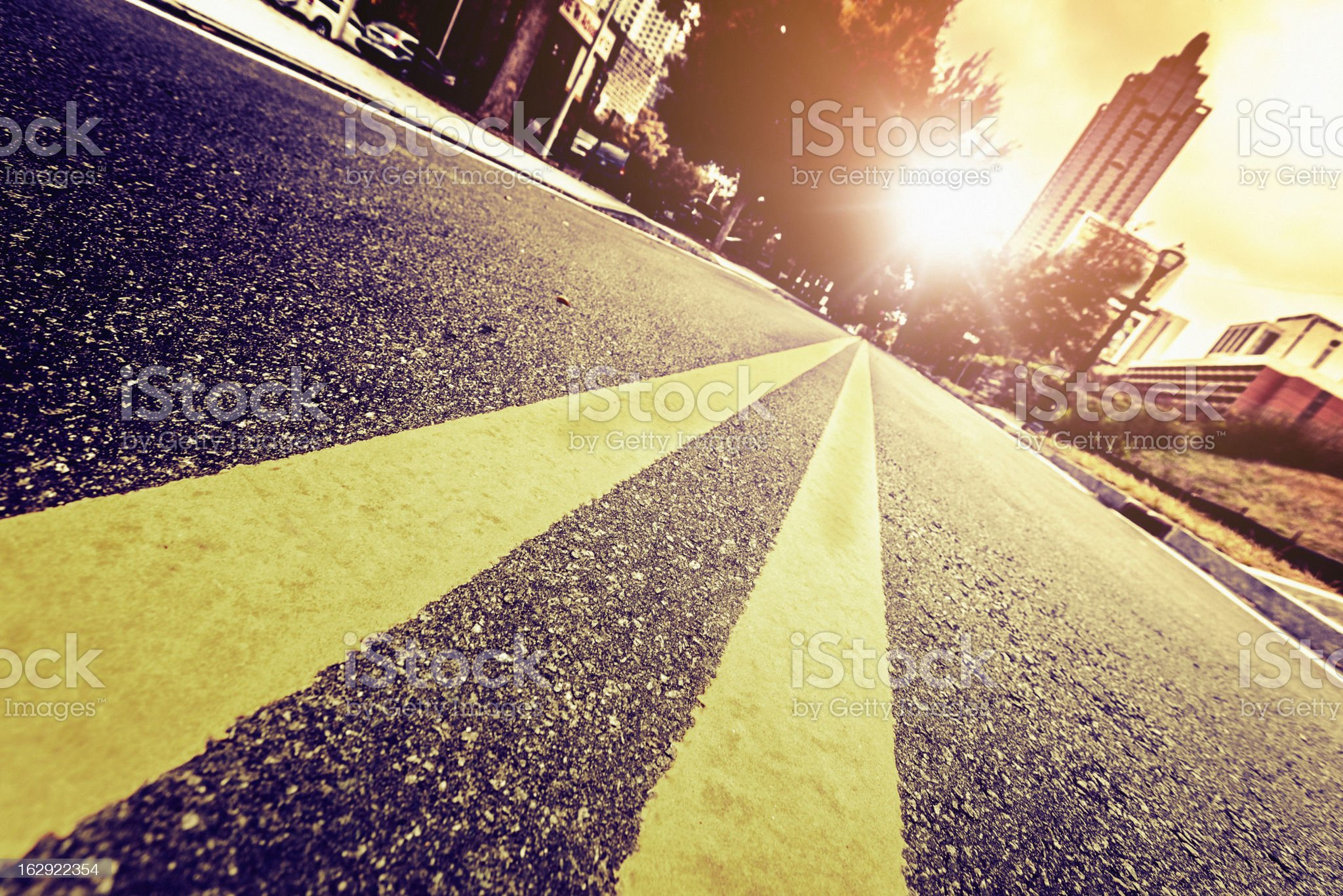 Sunlight, Double Yellow Lines royalty-free stock photo