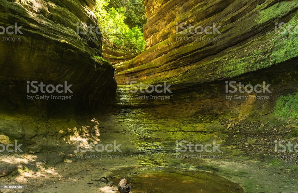 Sunlight entering the canyon. stock photo