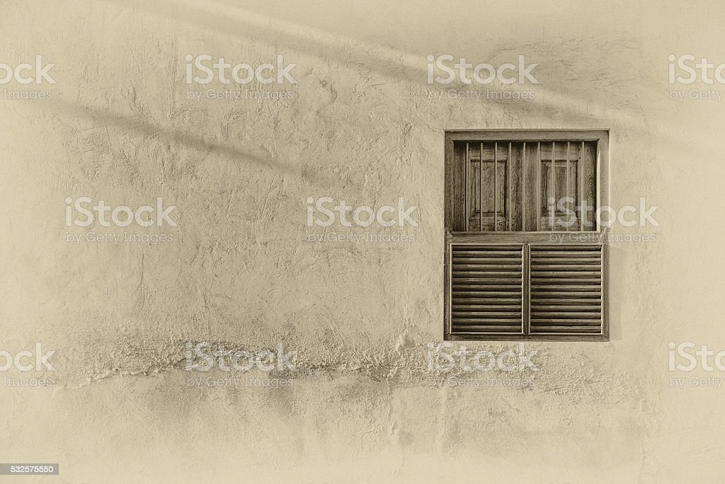 Sunlight on a traditional Arabian window stock photo