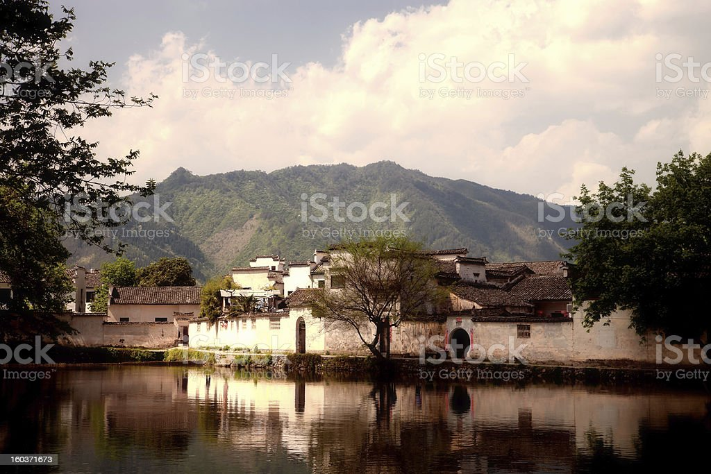 Sunlight on ancient Chinese village of Hongcun, Anhui Province, China stock photo
