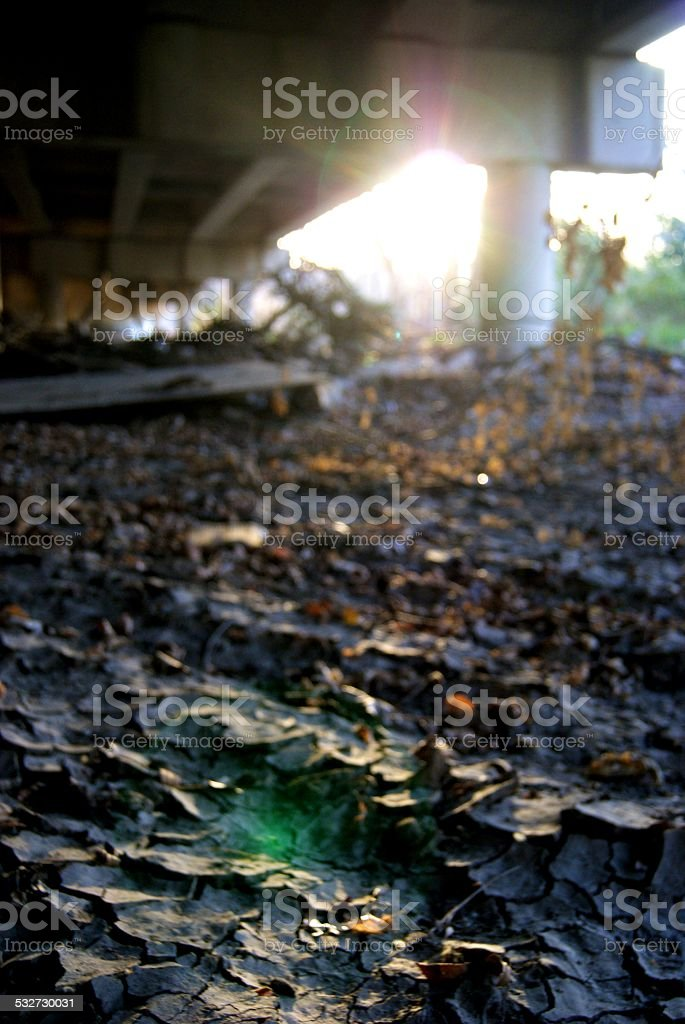 Sunlight on Crackled Earth royalty-free stock photo