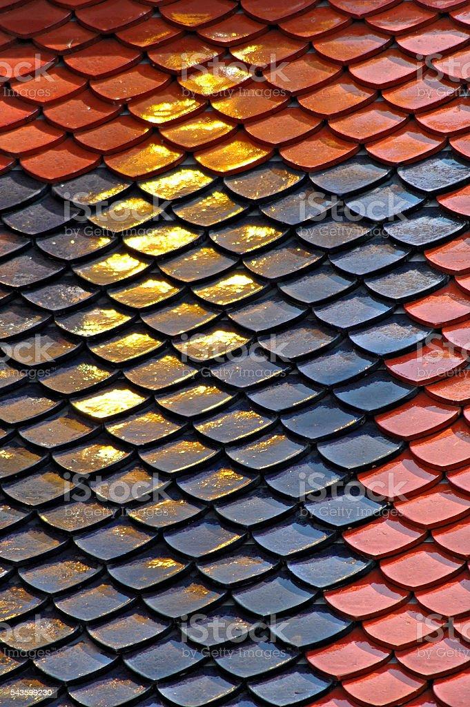 Sunlight on golden tiles on temple,Grand Palace,Bangkok,Thailand stock photo