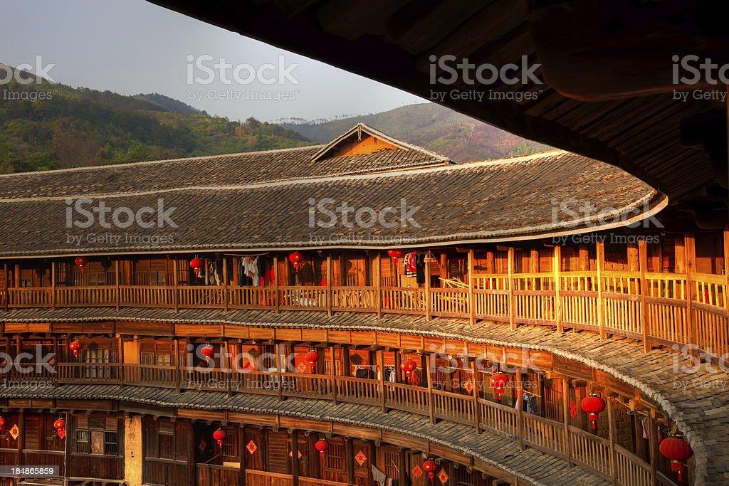 Sunlight on Hakka Tulou traditional Chinese housing, Fujian China stock photo