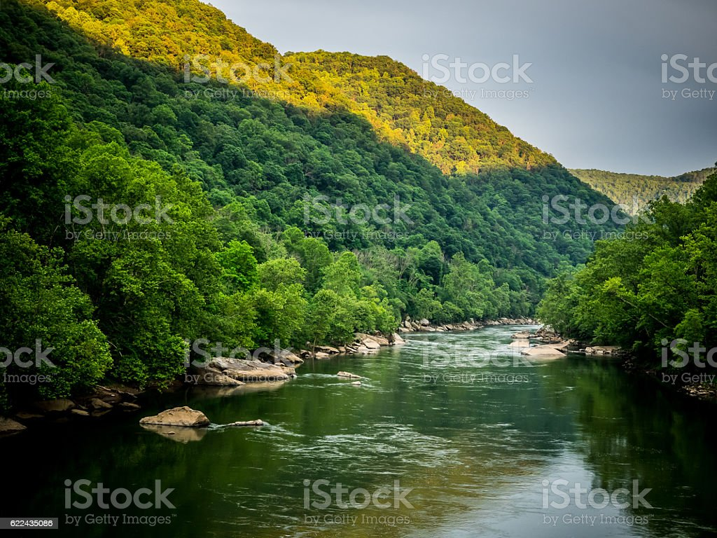Sunlight on Hills in New River Gorge stock photo