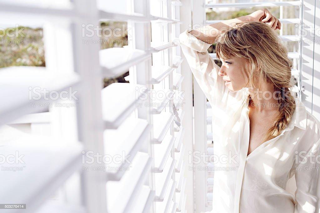 Sunlight on stunning lady stock photo