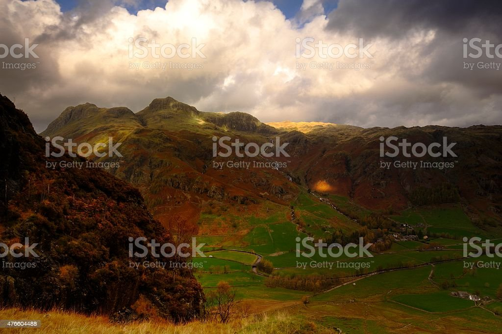 Sunlight on the Langdales stock photo