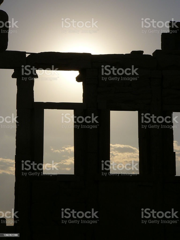 sunlight on the temple of Athena stock photo