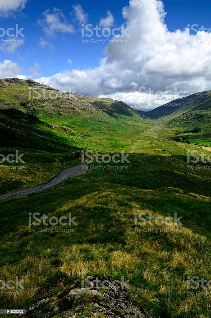 Sunlight on the valley stock photo