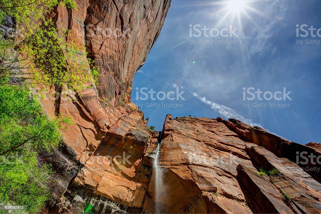Sunlight on the Waterfall, Zion National Park, Utah stock photo