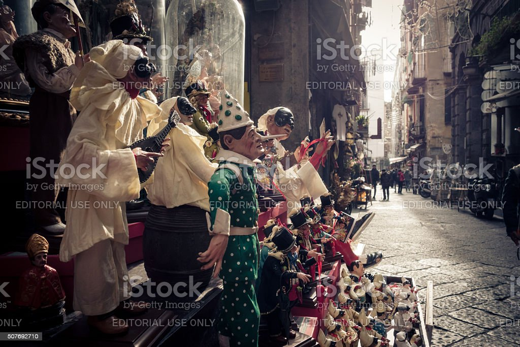 Sunlight on traditional Neapolitan Clay display, Naples Italy stock photo