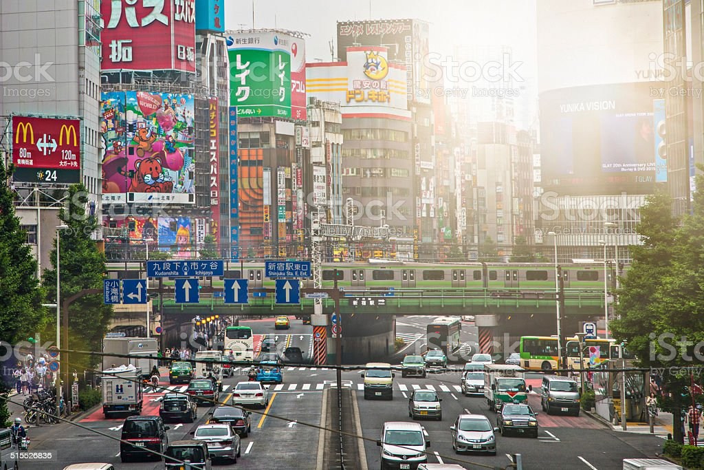 Sunlight over the busy streets of Shinjuku stock photo